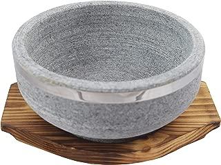 Sunrise Natural Stone Bowl 32 oz with Wood Underliner for Bibimbap/Korean Soup