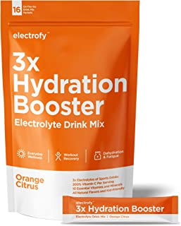 Electrofy 3X Hydration Booster 16 Pack | Orange Citrus | Keto Electrolyte Drink Powder Stick Packets Recovery Mix Hydratio...