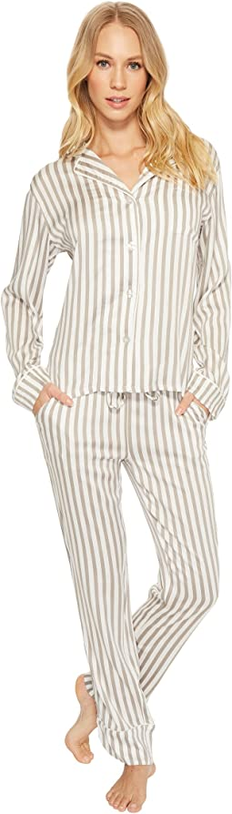 Walk The Line Grey Striped PJ Set