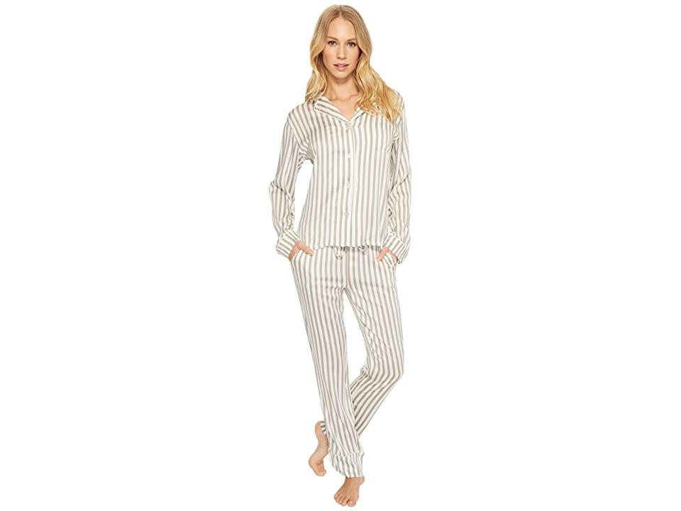 P.J. Salvage Walk The Line Grey Striped PJ Set (Silver) Women