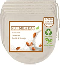 """6 Pack 12""""x12"""" Nut Milk Bags - 100% Unbleached Organic Cotton Cheesecloth, Reusable Food Strainer Colander For Straining A..."""