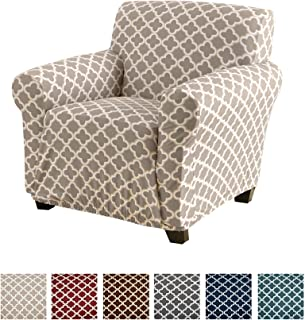 Home Fashion Designs Printed Twill Arm Chair Slipcover. One Piece Stretch Chair Cover. Strapless Arm Chair Cover for Living Room. Brenna Collection Slipcover. (Chair, Beige)