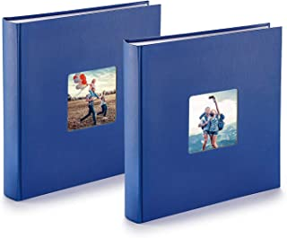 PAZZiMO Álbum de fotos para pegar azul pack de 2 álbum de fotos 30x30 cm XXL para 400 fotos con papel de pergamino álbum fotos 10x15 con ventana en la portada