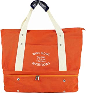 Women's Canvas Travel Tote Bag Carry On Weekend Duffel with Shoes Compartment Overnight Bags with Trolley Sleeve (Orange)