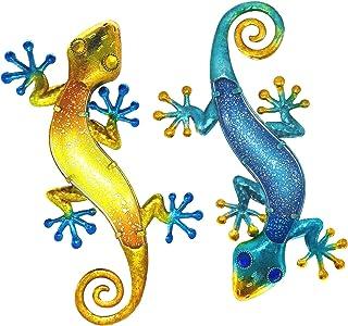 Home Decor MDLUU Gecko Wall Art Lizard Hanging Ornament for Garden Fence Blue 38cm Gecko Wall Sculpture