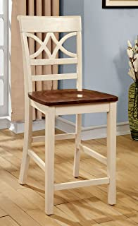 Furniture of America Cherrine Country Style Pub Dining Chair, Oak/Vintage White, Set