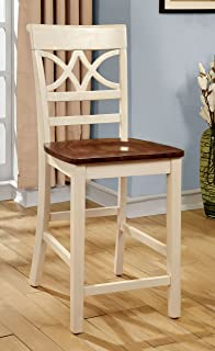 Furniture of America Cherrine Country Style Pub Dining Chair, Oak/Vintage White, Set of 2