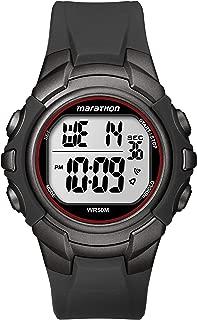 Men's T5K642 Digital Full-Size Gunmetal Gray/Red Resin Strap Watch