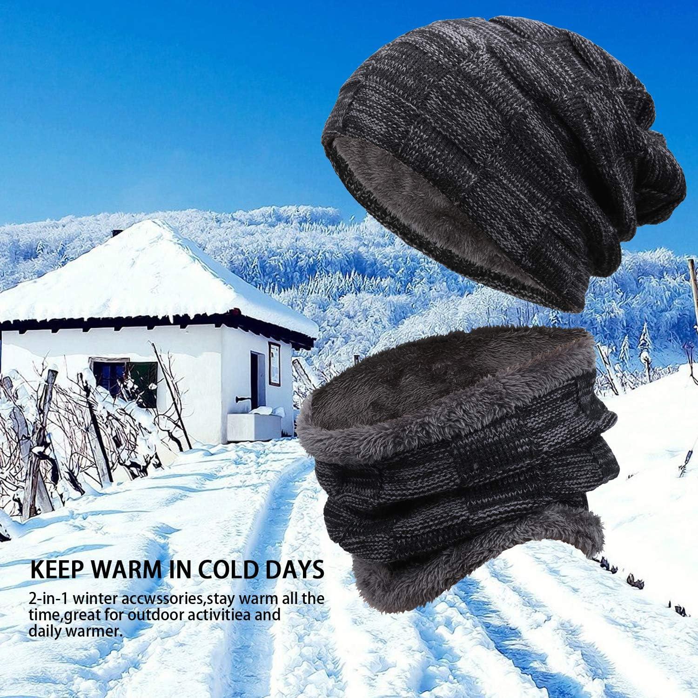 Bequemer Laden Winterm/ütze Strickm/ütze Winter Beanie M/ütze und Warme Schal Strickschal mit Dick Fleecefutter Set f/ür Damen und Herren