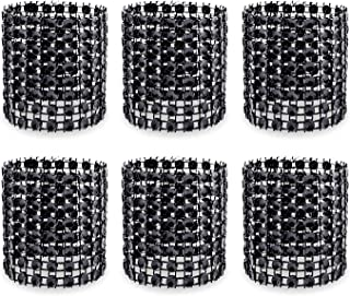 KEIVA Napkin Rings, Pack of 120 Rhinestone Napkin Rings Diamond Adornment for Place Settings, Wedding Receptions, Dinner or Holiday Parties, Family Gatherings (120, Black)