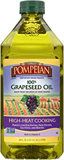 Pompeian 100% Grapeseed Oil, Light, Subtle Flavor, Perfect for High-Heat Cooking, Deep Frying and Baking, Rich in Vitamin ...