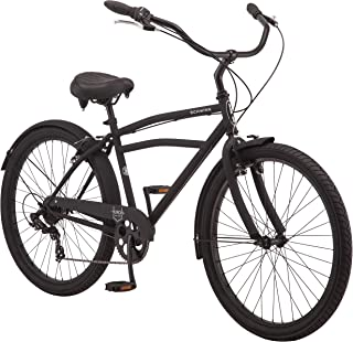 Schwinn Huron Men's Cruiser Bike Line, Featuring 17-Inch/Medium Steel Step-Over Frames, 1-3-7-Speed Drivetrains, Full Front and Rear Fenders, and 26-Inch Wheels, Black, Grey, and Red