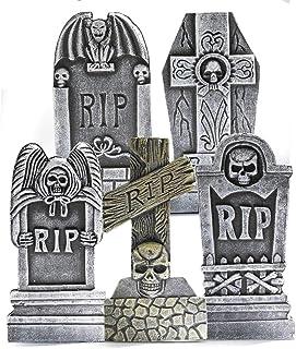 """Best Prextex Pack of 5 Halloween Décor 17"""" RIP Graveyard Lightweight Foam Tombstone Halloween Decorations RIP Review"""