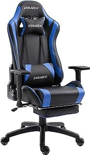 Dowinx ゲーミングチェア/オフィスチェア/ゲーム用チェア リクライニング 人間工学 伸縮可能のフットレスト マッサージ機能腰痛対策 調節可能ランバーサポート LS-668704 (ブラック&ブルー)