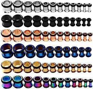 KUBOOZ 9 pairs acciaio inox singolo svasato kit tappi per le orecchie tunnel calibri barella piercing formato misto 14G-00G