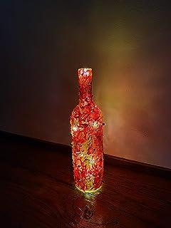 BOTTIGLIA DECORATIVA con Luce/Rosso, Trasparente: