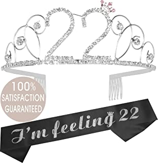 22nd Birthday Tiara and Sash| Happy 22nd Birthday Party Supplies| It's My 22nd Birthday Black Satin Sash and Crystal Tiara Birthday Crown for 22 Birthday Party Supplies and Decorations (Tiara+Sash)…
