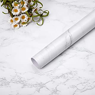 SPAK- KAL Self Adhesive Marble Matte Paper Waterproof Oilproof Sticky Back Plasstic Roll Grey White Wallpaper Vinyl Film f...