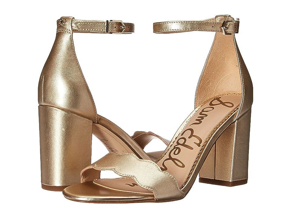 Sam Edelman Odila Ankle Strap Sandal Heel (Molten Gold Soft Metallic Sheep Leather) Women
