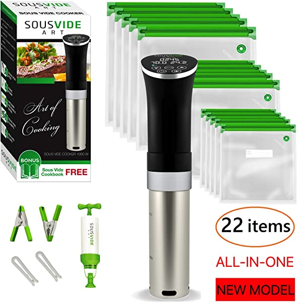 Sous Vide Cooker Immersion Circulator Sous Vide Starter Kit Sous Vide Pod 1000W 15 Bags Pump Clips Free Cookbook