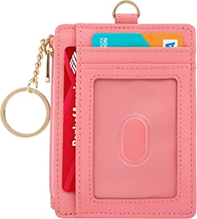 Keychain Wallet Badge Holders Slim Card Wallet with Keychain Zipper Leather RFID Blocking ID Holder Wallet Minimalist (Fashion Pink Wallet-Extended (2 Lanyard))