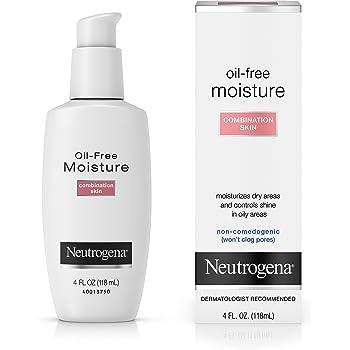 Neutrogena Oil Free Moisture Glycerin Face Moisturizer & Neck Cream for Combination Skin, Lightweight, Oil Absorbing Facial Moisturizer Lotion for a Soft Natural Matte, 4 fl. oz