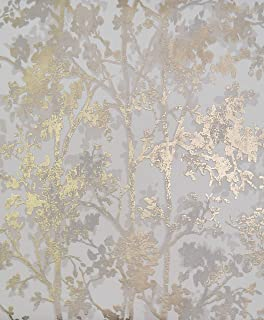 York Wallcoverings NW3583 Modern Metals Shimmering Foliage Wallpaper White/Gold