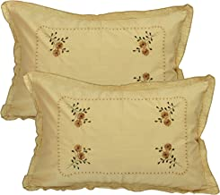 "Rj Products Pure Cotton Standard Size Beige Pillow Cover (Set of 2) - 18""x28""- Flower Leaf Pattern"