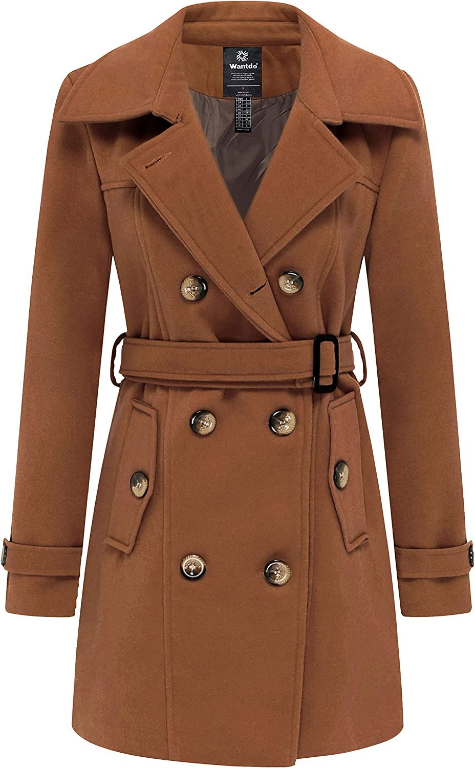 Wantdo Women's Double Breasted Pea Max 48% OFF Inventory cleanup selling sale Coat C Mid-Long Trench Winter