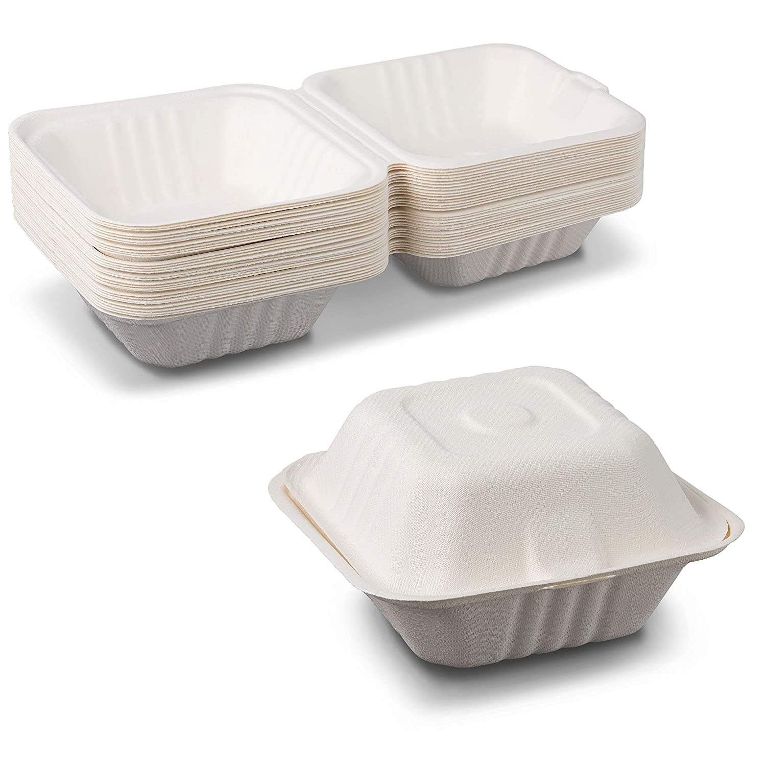 Houston Mall Quantity limited Take-Out Container Clamshell 6 x inches Fiber Molded t Bagasse