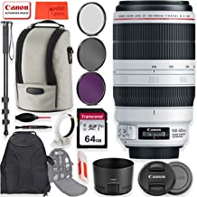 Canon EF 100-400mm f/4.5-5.6L is II USM Lens with Essential Accessory Kit - 64GB Memory, Backpack, Filters, Lens Hood, Monopod & More