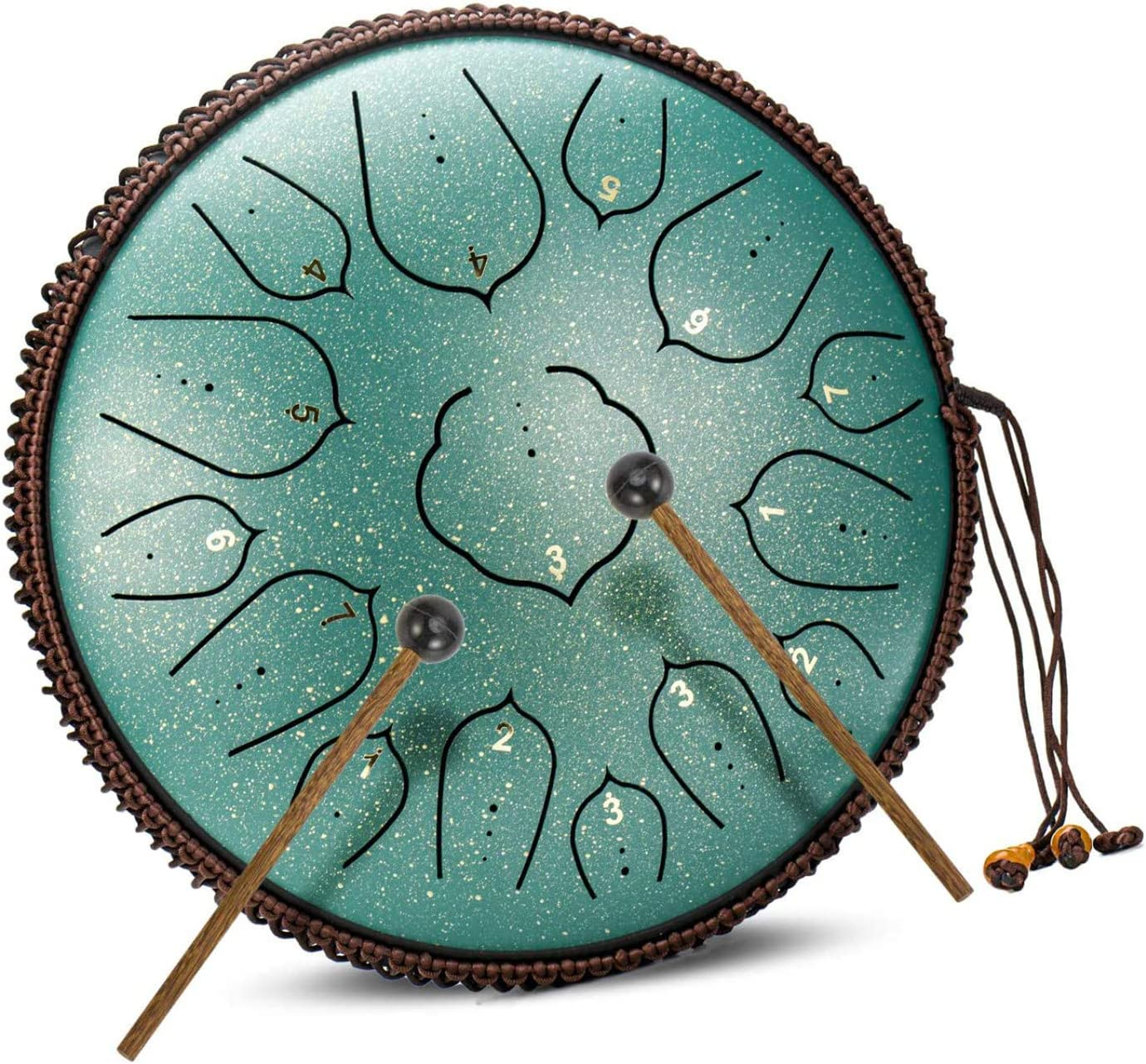 Steel Tongue Drum 14 Inches 15 Tune D Key Percussion Instrument Drum with Mallets Tutorial Book Carrying Bag Hand Pan Drum Kit Tone Sticker for Adults Yoga Practice Meditation