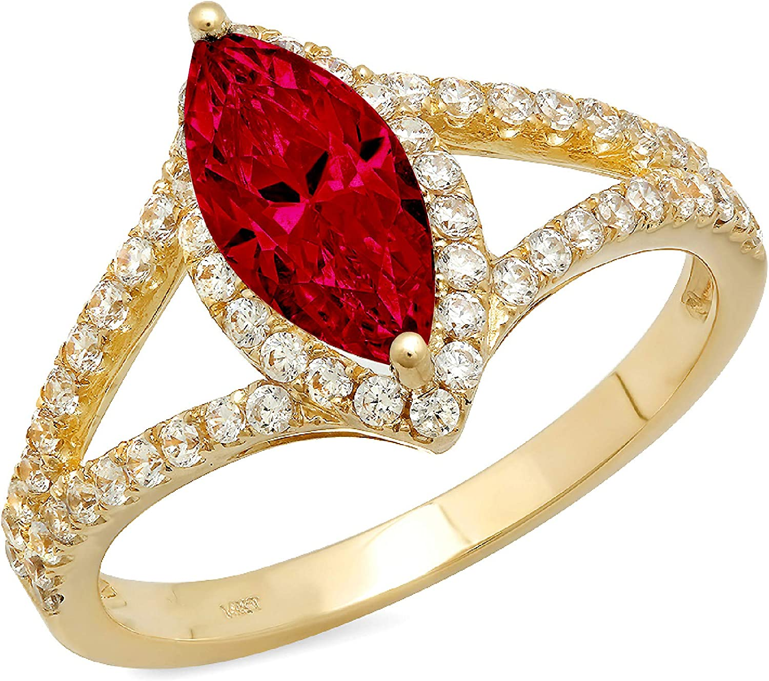 1.17ct Max Genuine 51% OFF Marquise Cut Solitaire split Natural shank R Halo Scarlet