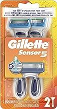 Gillette Sensor 5 Men's Disposable Razors,  2 Count