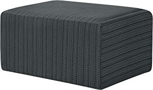 subrtex Stretch Ottoman Cover Ottoman Slipcovers Rectangle Footstool Sofa Slip Cover Oversize Furniture Protector with Elastic Bottom in Living Room (XL, Grey Striped)
