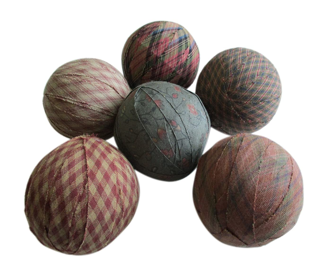 From The Attic Crafts Rag Balls Primitive Bowl Fillers Green Red Micro Checks and Ditsy Floral Print 2.5