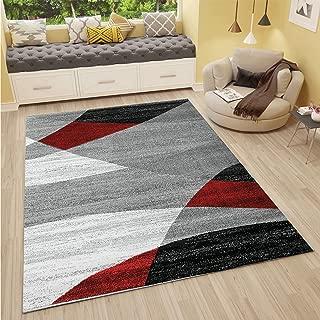 VIMODA Alfombra Moderna de diseño con Dibujo geométrico en Gris, Blanco, Negro y Rojo - Material Certificado ÖKO Tex, Maße:120 x 170 cm