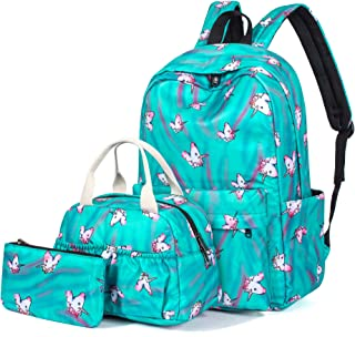 Unicorn School Backpack Set Bookbag&Lunch&Pencil Bag Water Blue
