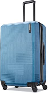 American Tourister Stratum XLT Expandable Hardside Luggage with Spinner Wheels, Blue Spruce, Checked-Medium 25-Inch