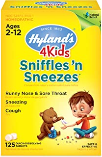 Zinc for Kids Ages 2+, Cold Medicine Tablets, Hyland's 4 Kids Sniffles n' Sneezes, Decongestant, Headache and Sinus Relief...