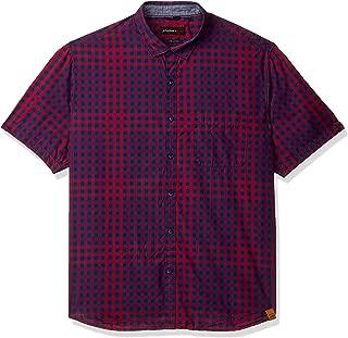 John Players Men's Checkered Slim fit Casual Shirt (ZCMWSHS190045001_True Red 38)