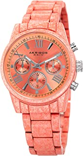 Akribos XXIV Multifunction Marbling Effect Women's Watch - 3 Subdials, Month Date, Week Date and 24 Hr Functions Complicat...