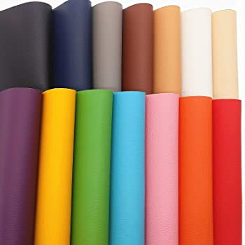 """ZAIONE Solid Litchi Faux Leather Sheets 14pcs/Set 8"""" x 12"""" (20cm x 30cm) A4 Sheets Soft PU Vinyl Synthetic Leather Fabric for Shoes Bag Bow Material DIY Craft (14 Colors)"""