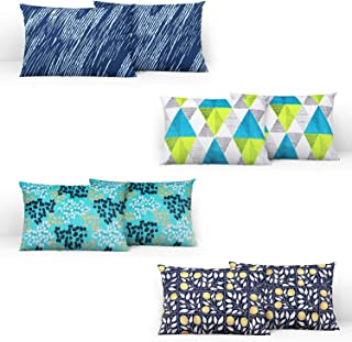 Divine Casa 100% Cotton Printed Design Assorted Pillow Covers Set of 4 (Total 8 Pcs) (Muliticolor, Standard Size)