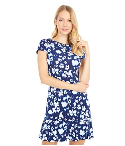 MICHAEL Michael Kors Petite Poppy Flounce Seamed Dress (True Navy) Women