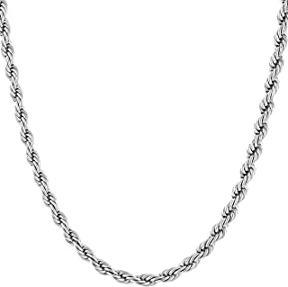 Lifetime Jewelry 4mm Rope Chain Necklace 24k Gold Plated for Men Women and Boys with Free Lifetime Replacement Guarantee