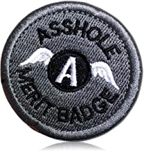 """Asshole Ahole Merit Badge W/Upper Case Letter A & Wings Funny Profanity Profane Police Tactical Morale Name Tag Insignia of Rank Hook & Loop Fastener Patch [2.5"""" x 2.5""""] + Certificate"""