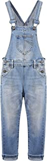 Sponsored Ad - KIDSCOOL SPACE Girls Boys Denim Ripped Overalls,Washed Distressed Cotton Jean Pants