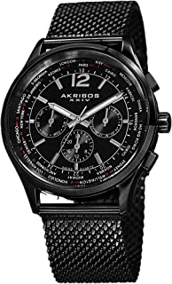 Akribos XXIV Men's AK716 Explorer Swiss Multifunction Stainless Steel Mesh Bracelet Watch