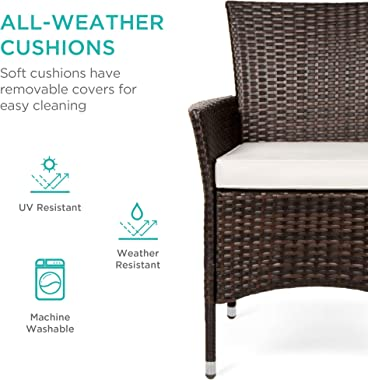 Best Choice Products 5-Piece Indoor Outdoor Wicker Dining Set Furniture for Patio, Backyard w/Square Glass Table Top, Umbrell